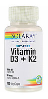 Solaray, Витамин D3 (5000 IU )+ K2 50 mcg(МК-7) 120 капсул.