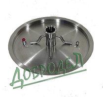 """Крышка для котла 25 л с врезкой 2"""", толщина 1,2 мм, диаметр 35 см."""