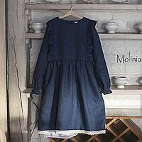 Платье женское льняное темно-синее с хлопковым кружевом и воланами