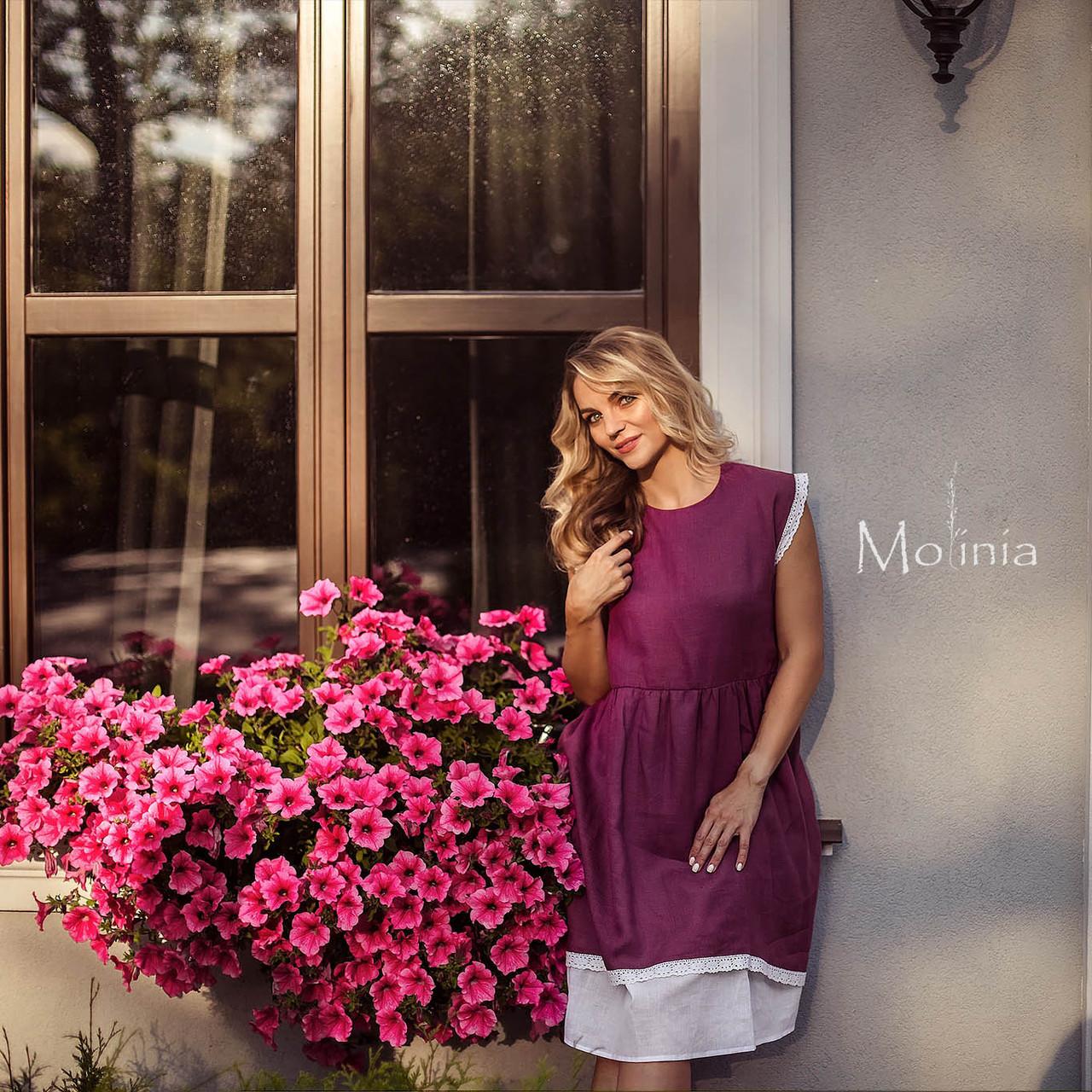 Платье женское льняное ягодного цвета с белым кружевом - фото 2