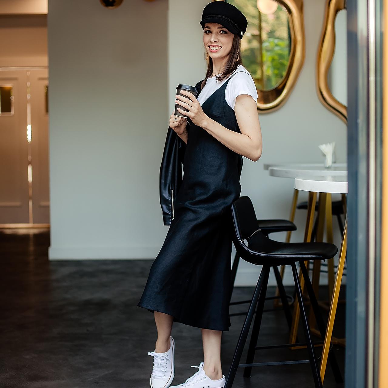 Льняное черное платье-комбинация - фото 4