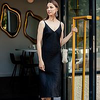 Льняное черное платье-комбинация 48