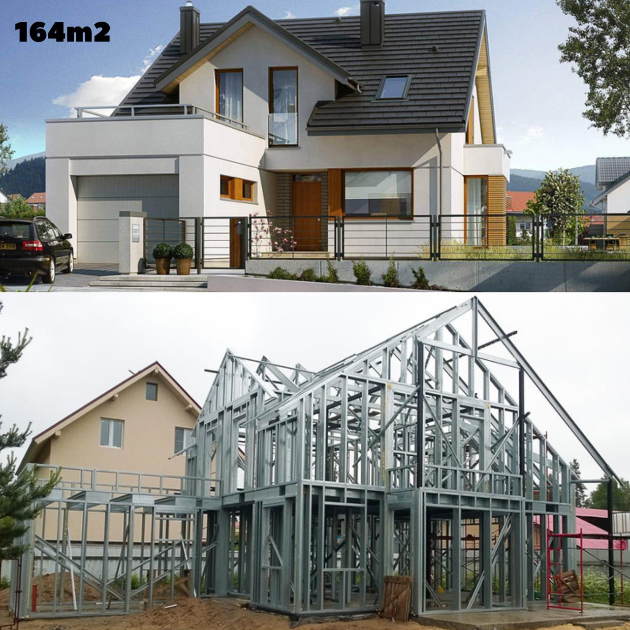 Каркасно модульный дом 164m2 из ЛСТК 16х12m