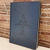 Ежедневник недатированный с самолетом Airbus A320, синий цвет