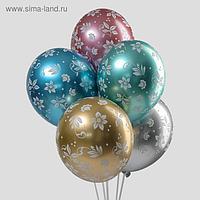 """Шар латексный 14"""" """"Цветы"""" хром, набор 25шт. 1103-2146"""