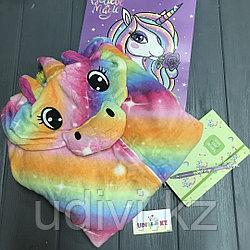 Теплые пижамы Кигуруми Единорог с красочным пакетом