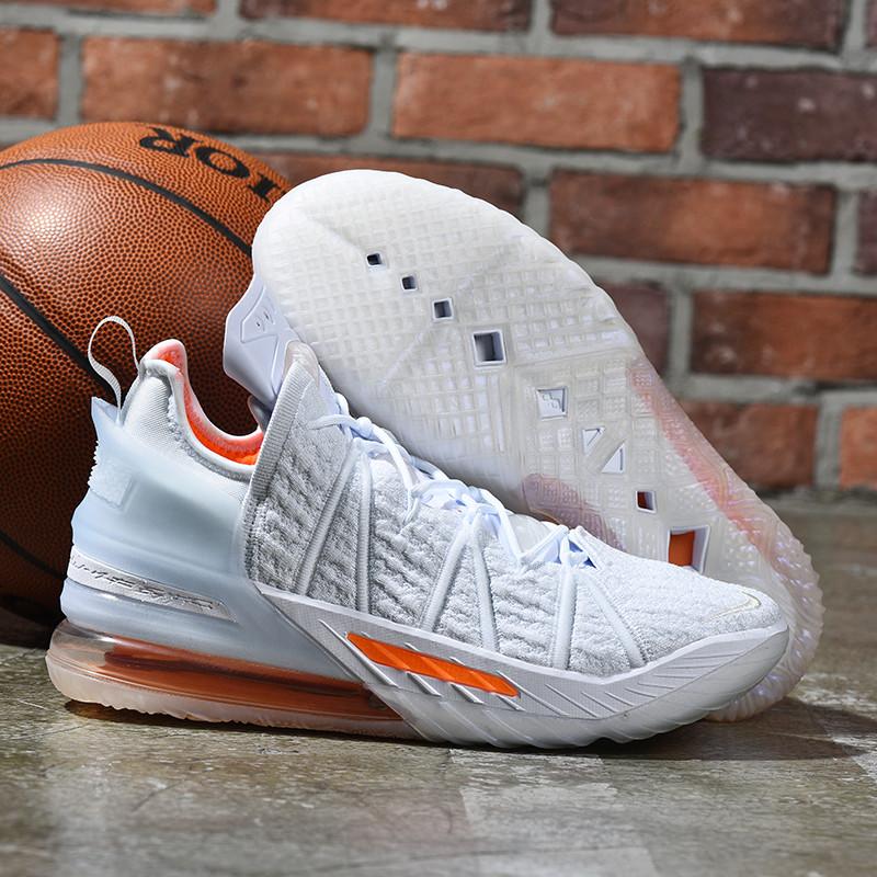 Баскетбольные кроссовки Nike LeBron 18 ( XVIII) White Orange (36-46)