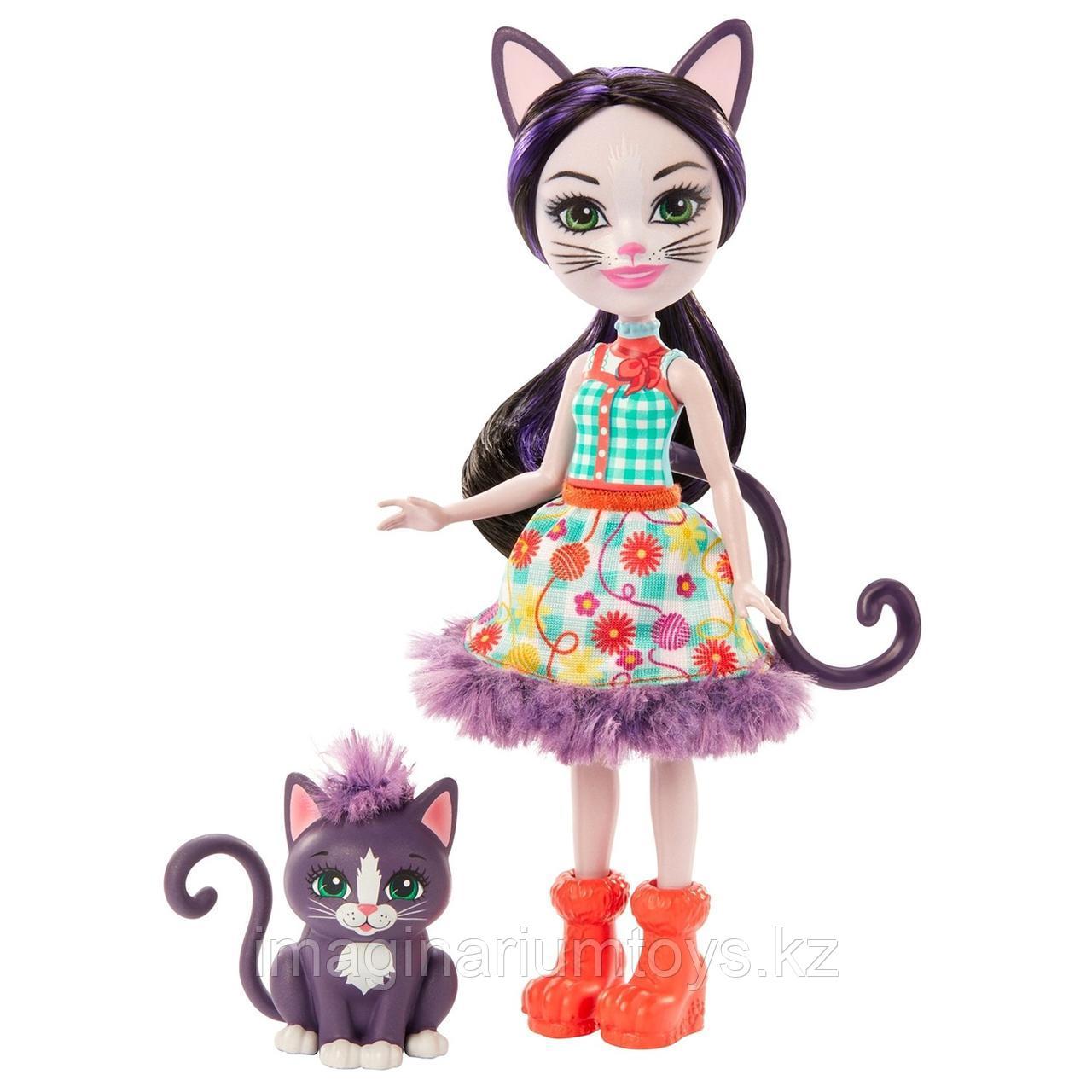Кукла Энчантималс кошка Сиеста и котенок Клаймбер