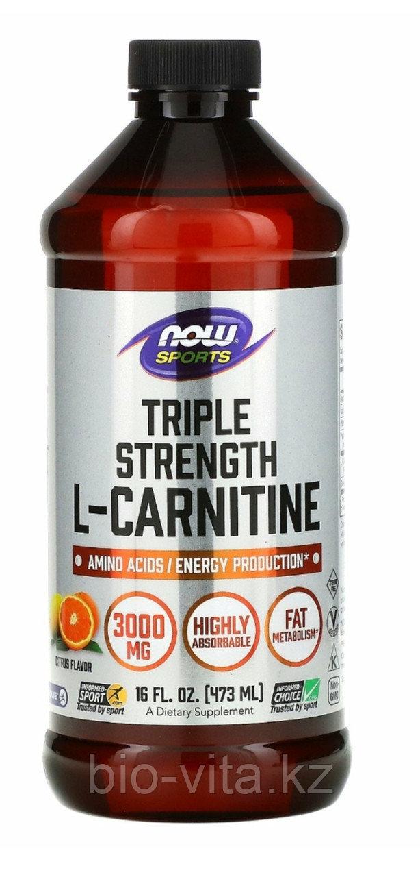 Жидкий L-карнитин, Тройная сила  3000 мг в 1 ст/л, (473 мл).  Now Foods
