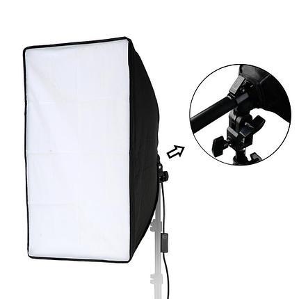 Студийный софтбокс 50 см × 70 см  на одним патроном и  с ручкой регулирования.( с лампой и стойкой), фото 2