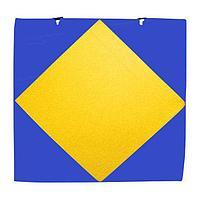Мат спортивный 100*100*8 см, с вырезом под стойки, сине-желтый