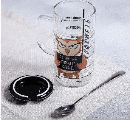 Кружка «Упийца кофе», с крышкой и ложкой, 300 мл, фото 2