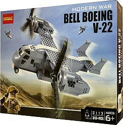 Decool 2113 Конструктор Военный Самолёт Конвертоплан Bell-Boeing V-22 Osprey, 318 дет (Аналог LEGO)