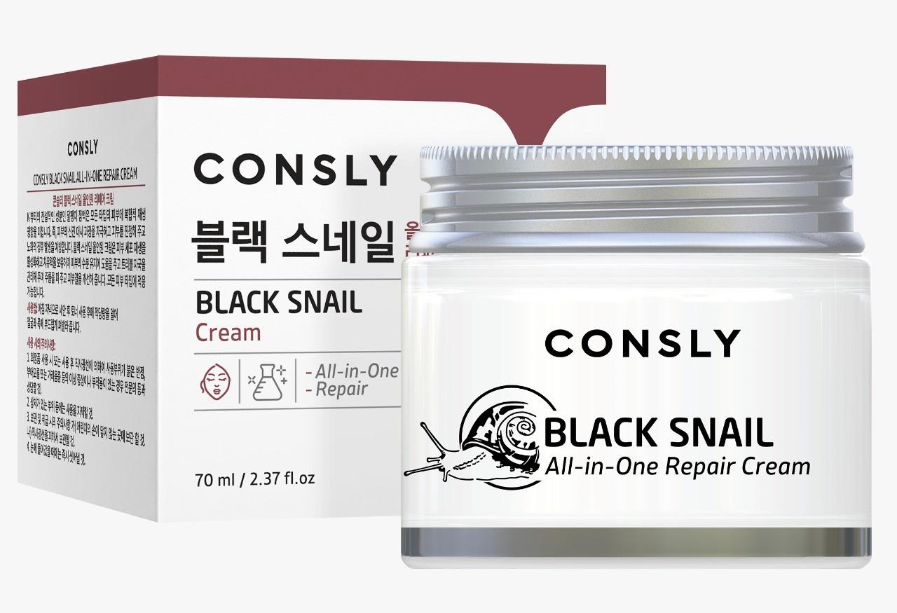 Consly Многофункциональный крем с муцином черной улитки All-in-One Repair Black Snail Cream / 70 мл.