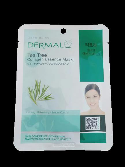 Dermal Питательная маска для лица на основе эссенции чайного дерева и коллаген Tea Tree Collagen Essence Mask