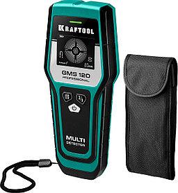 Детектор универсальный KRAFTOOL дGMS 120.черный, цветной металл, проводка, дерево (45298)