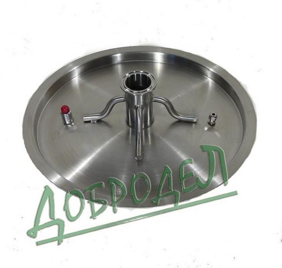 """Крышка для котла 70 л с врезкой 2"""", толщина 1 мм, диаметр 45 см."""