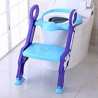 Сиденье для унитаза с лесенкой и ручками PITUSO Голубой BLUE