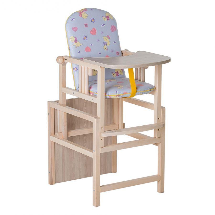 Стул-стол для кормления регулируемая спинка ГНОМ Утки синие
