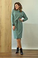 Женское осеннее трикотажное зеленое большого размера платье Angelina 603 зеленый 48р.