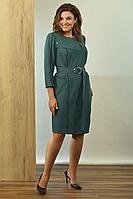 Женское осеннее трикотажное зеленое платье Angelina 606 48р.