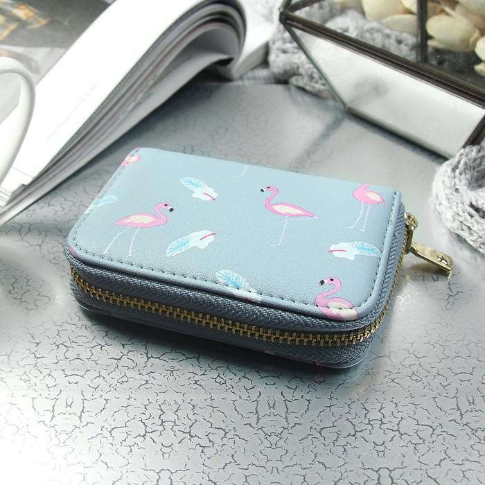 Визитница «Фламинго», горизонтальная, 1 ряд, 9 картхолдеров, цвет голубой