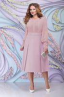 Женское осеннее шифоновое розовое большого размера платье Ninele 2270 пудра 54р.