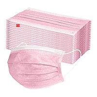 Маска лицевая 3-х слойная розовая 50шт