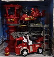 Пожарная машинка, набор пожарной станции, вертолет