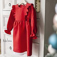 Льняное красное платье для девочек с крылышками