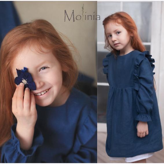 Льняное синее платье для девочек с крылышками - фото 1