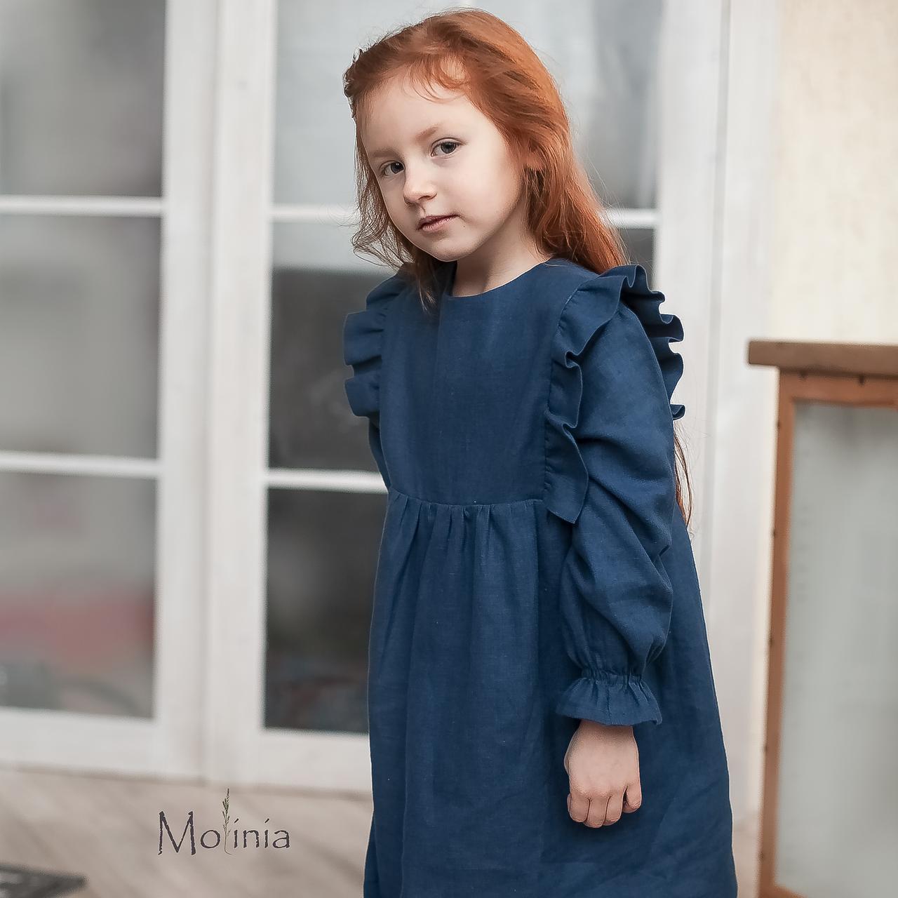 Льняное синее платье для девочек с крылышками - фото 2