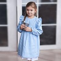 Льняное голубое платье для девочек с крылышками