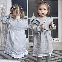 Льняное серое платье для девочек с крылышками