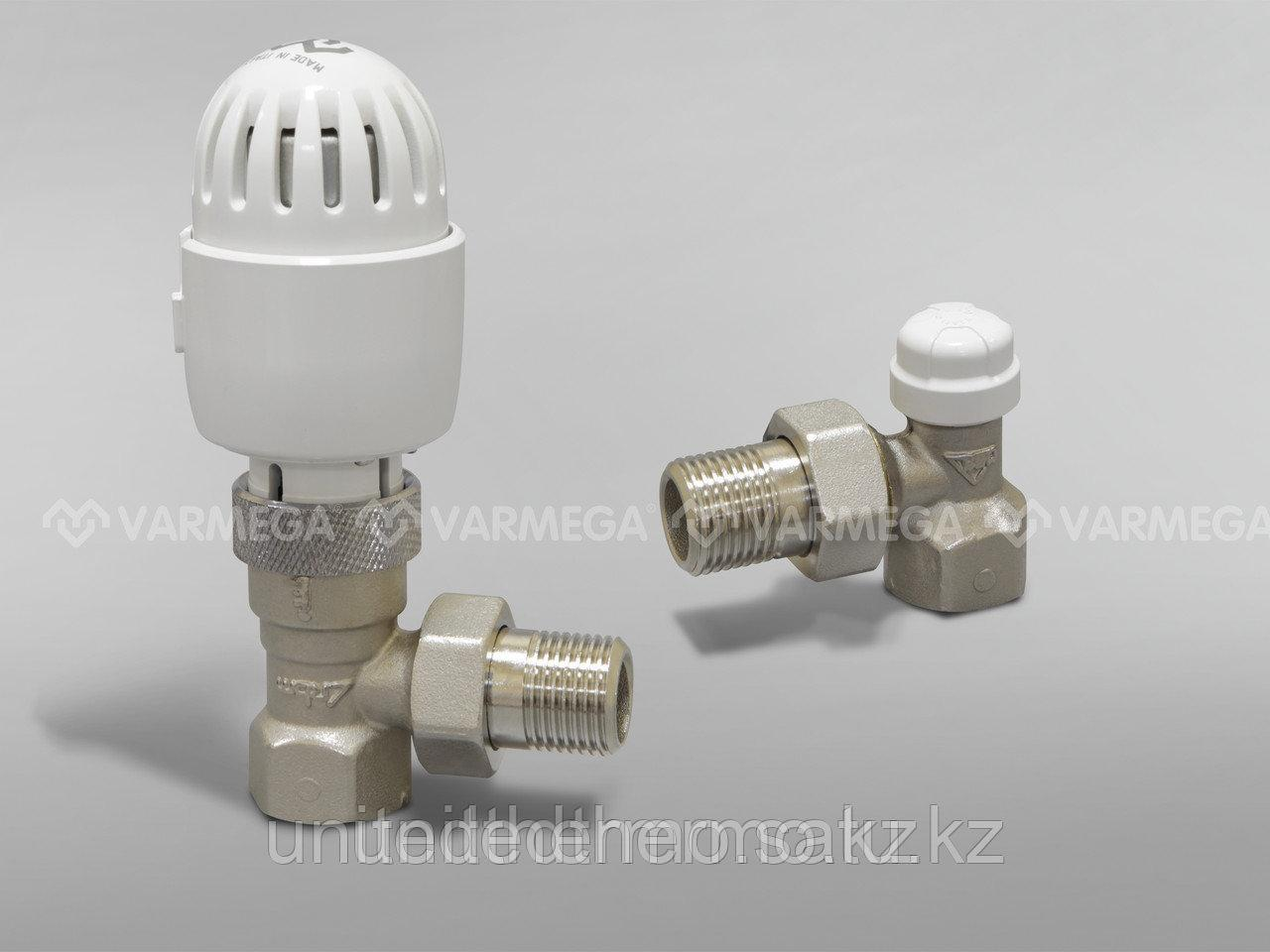 Термостатический комплект угловой (клапан термостатический + клапан запорный + термост-я головка жид.)3/4