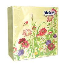 Салфетки сервировочные 33*33 Veiro Полевые цветы, 20 штук в пачке