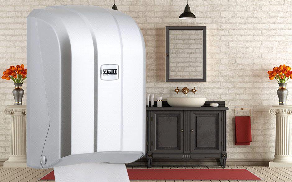 """Диспенсер для листовой туалетной бумаги Vialli Z уклад (""""металлик"""")"""