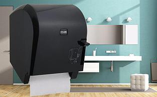Диспенсер рулонных бумажных полотенец Vialli K8В (медицинский, локтевой, чёрного цвета)