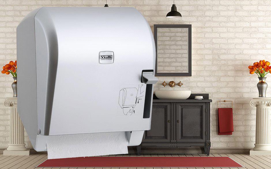 Диспенсер рулонных бумажных полотенец Vialli K8М (медицинский, локтевой, серебристого цвета)
