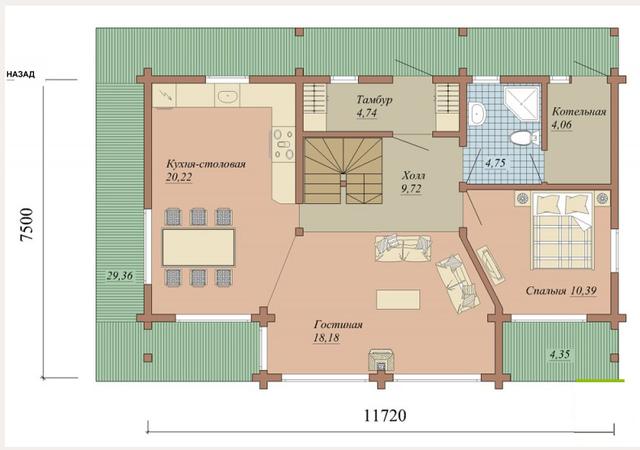 проекты деревянных домов с терасой, план двухэтажного дома и строительство под ключ, проектирование и строительство деревянных домов.