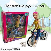 Детский набор кукла с подвижными руками и ногами на велосипеде и с кошкой Miss Gaga