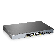 """Zyxel GS1350-26HP Коммутатор L2 PoE+ для IP-видеокамер rack 19"""", 24xGE PoE+, 2xCombo (SFP/RJ-45), бюджет 375Вт"""