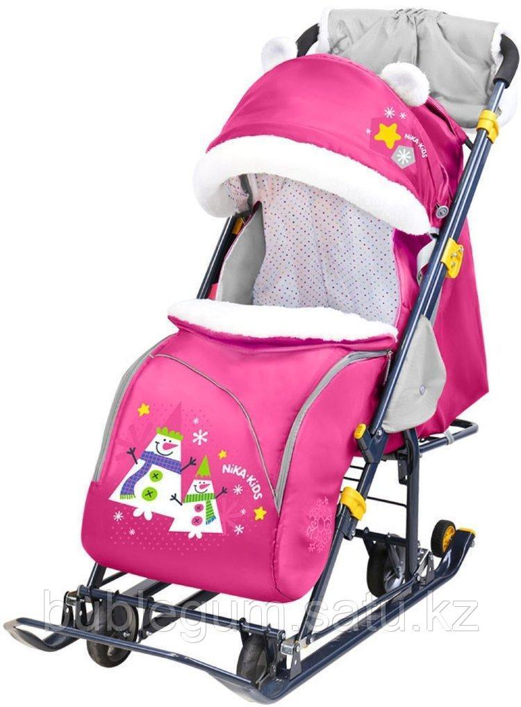 "Санки-коляска ""Ника детям 7-6"" со снеговиками, розовый"