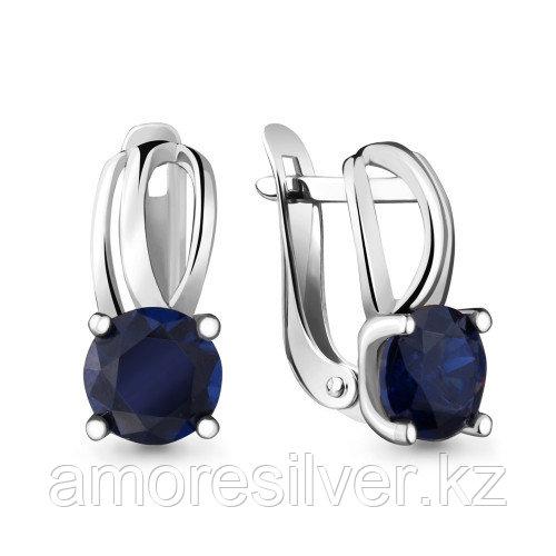 "Серьги Aquamarine серебро с родием, нано сапфир фианит, ""каратник"" 42988Н.5"