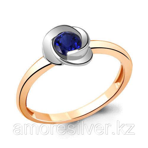 Кольцо Aquamarine серебро с позолотой, нано сапфир, флора 63892Н.6