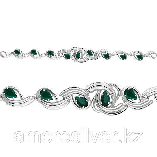 Браслет Aquamarine серебро с родием, агат зеленый, многокаменка 7431609.5