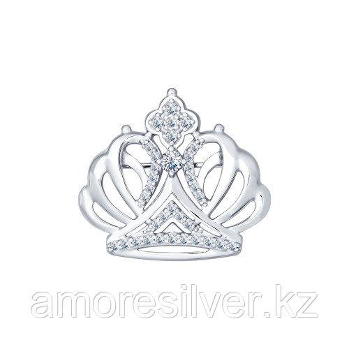 Брошь SOKOLOV серебро с родием, фианит, корона 94040105