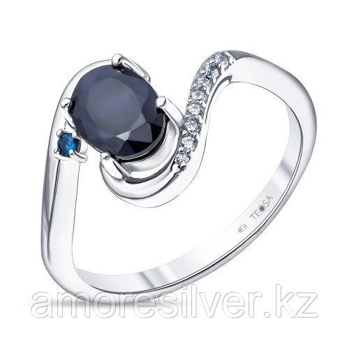 """Кольцо Teosa серебро с родием, сапфир фианит, """"halo"""" R-DRGR00815-SP"""