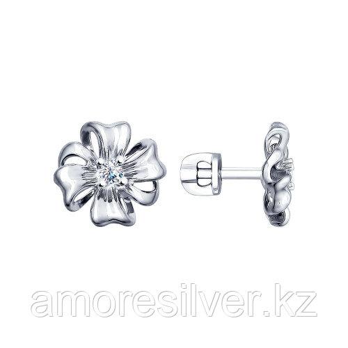 Серьги SOKOLOV серебро с родием, фианит, флора 94022483