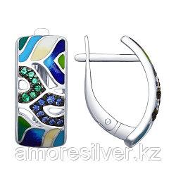 Серьги SOKOLOV серебро с родием, фианит эмаль, абстракция 94022657